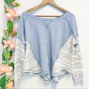 Free People Gray Batwing Sleeve Sweater